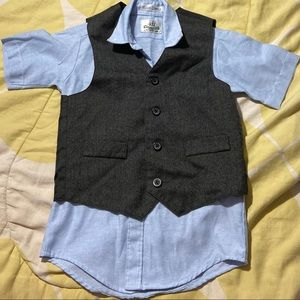 Size 6 boys button up with matching vest